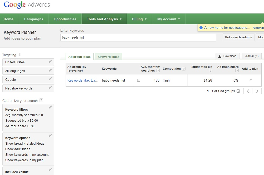 Google Keyword Planner 2 - arama sonuclari